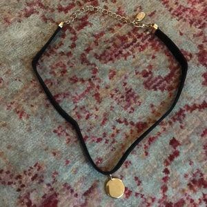 Zara Suede Choker with Gold Charm